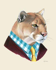 Mountain Lion art print 8x10