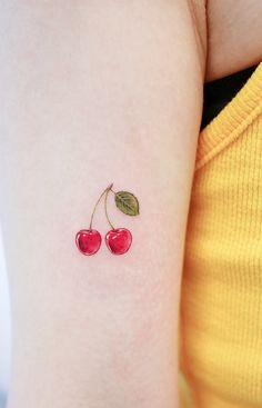 minimalist tattoo meaning Soft Tattoo, Subtle Tattoos, Dainty Tattoos, Pretty Tattoos, Small Tattoos, Peach Tattoo, Cherry Tattoos, Mini Tattoos, Food Tattoos