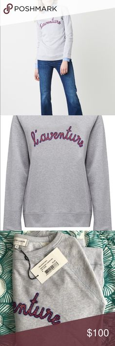 "NEW Maison LaBiche Designer Sweatshirt from Paris NEW, unworn, tags still on. Grey crew neck sweater with ciel rose ""L'aventure"" beading. Size Medium. Bought in Paris, France. Originally €105 (122 USD) Sweaters Crew & Scoop Necks"