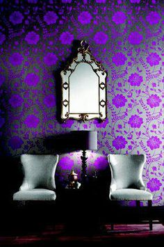 Purple wallpaper-wow!  Electric.  Great for a lounge.