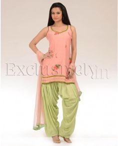 Peach and Pista Green Patiala Salwar Suit: the salwar waist has been pulled to accentuate draping on the inside of leg, rather than the outside back