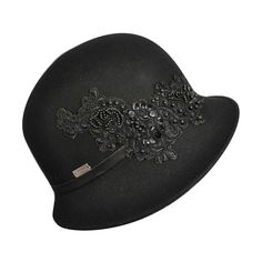 1920s Cloche Hat in black with beading. Perfect formal hat for a 1920s party.