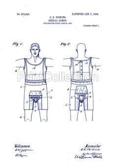 """1908 poster- patent filing for armor to """"stop masturbation and instanity"""""""