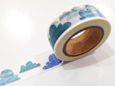 Japanese Washi Tape, Blue Rain Clouds, Weather, Sky 10 METRES