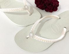 a1f4250efc44 White Pearl Havaianas Slim Flip Flops Bridal Crystal Rose w Swarovski  Rhinestone Bling Bride Silver BridesMaid Beach Wedding shoes