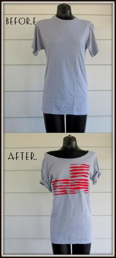 Clothes : DIY Off the shoulder Flag Shirt,