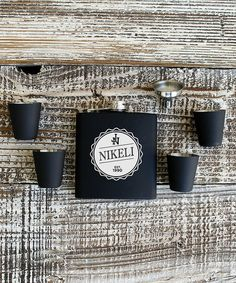 Stamp Out Online Personalized Flask Set   zulily