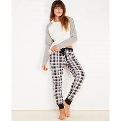 Mjc International  Plaid Thermal Pajama Pants (£12) ❤ liked on Polyvore featuring intimates, sleepwear, pajamas, black, wet seal, plaid pjs, thermal pajamas, black pajamas, pj pants and thermal pjs