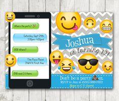 Printable Emoji Birthday Party Invitation Boy Emoji by HappyBarn