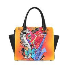 I Love Jazz Music Art Print By Juleez Classic Shoulder Handbag (Model 1653).Colorful Jazz Music Art Print Handbag. Colorful Jazz Music Art. I love Jazz Art Colorful Piano Saxophone Guitar Music Art by Juleez