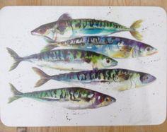 Entwerfer Makrele Fisch Tischset von Nicola Jane Rowles made in England