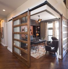 Amazing home office design! What are your thoughts? Would you want this as your home office? Wood Barn Door, Metal Barn, Barn Door With Glass, Metal Doors, Wooden Doors, Sliding Doors, Barn Door Designs, Interior Barn Doors, Home Office Design