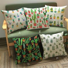 Potted Plant Cushion Cover Sofa Car Throw Cactus Printed Pillow Cover Home Decorative Pillowcase Square Housse De Coussin Cushion Covers Online, Sofa Cushion Covers, Pillow Covers, Cushion Pillow, Sofa Throw Pillows, Throw Pillow Cases, Cushions On Sofa, Cactus Pattern, Home