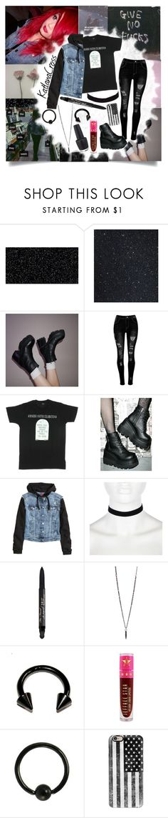 """""""""""The thoughts of your nightmare projected through mine"""""""" by katlanacross ❤ liked on Polyvore featuring Dirty Laundry, Demonia, H&M, River Island, Too Faced Cosmetics, Hot Topic, Jeffree Star, Casetify and OPI"""