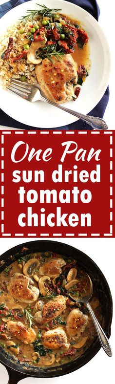 One Pan Sun Dried Tomato Chicken - Only takes 30 minutes to make! Plenty of veggies and great served over rice or quinoa. Perfect recipe for weeknight dinners! Gluten free/ dairy free. | robustrecipes.com