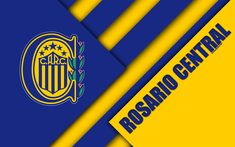 Download wallpapers Rosario Central, Argentine football club, 4k, logo, emblem, material design, yellow blue abstraction, Buenos Aires, Argentina, football, Argentine Superleague, First Division