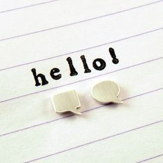 SPEECH BUBBLE STUDS sterling silver mismatched earrings / hello, talk, chat, speak, comic book, quirky studs, simple modern studs, everyday on Etsy, $45.00 AUD