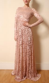 Blush Pink Long Lace Dress. £250.00