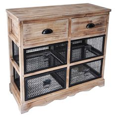 Cabinet with two wood and four wire basket-style drawers.   Product: CabinetConstruction Material: Wood and wire...