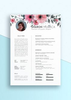 elegant, cute, professional and modern resume. Perfect for creative people, inspiration for designers and illustrator.