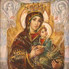 Mary Mother of God Jesus And Mary Pictures, Images Of Mary, Mary And Jesus, Religious Images, Religious Icons, Religious Art, Hail Holy Queen, Paint Icon, Jesus Christ Images
