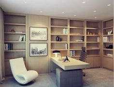 This reminds me of the office that my grandparents had in Tuscon. Medium warm shelving, mid century modern style desk and chair great lighting system. Office Interior Design, Office Interiors, Study Office, Cabinet Design, Shelf Design, Apartment Design, Office Decor, Office Setup, Desk Office