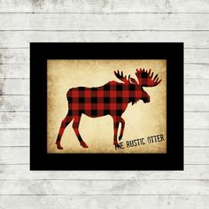 Buffalo Plaid Moose Silhouette  Woodland Nursery by TheRusticOtter
