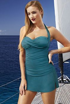 Discover the Tropiculture Dark Teal Convertible Slit Skirtini. Explore items related to the Tropiculture Dark Teal Convertible Slit Skirtini. Swimsuits For All, Plus Size Swimsuits, Curvy Fashion, Plus Size Fashion, Bathing Suits Hot, Plus Size Outfits, Tankini, Bodycon Dress, Stylish