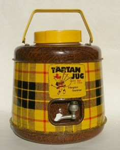 "Vintage ""Tartan Jug"" Beverage Cooler Dispenser for the Tailgating Hostess with the Mostess"