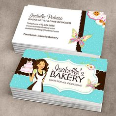 Create your own personalised Bakery Business Cards online. Bakery Business Cards, Business Cards Online, Business Cards Layout, Cake Business, Unique Business Cards, Business Card Design, Arts Bakery, Vintage Bakery, Name Card Design