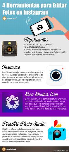 Hola: Una infografía con 4 herramientas para editar fotografías para Instagram. Vía Un saludo