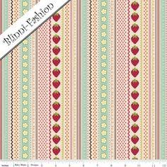 USA Designer Stoff    von Riley Blake aus der Serie Fly a Kite    Toller Patchworkstoff mir Erdbeeren und verschiedenen Streifen in den Farben rosa, m