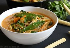 Quick red Thai curry noodle soup - can replace the noodles with zucchini cut noodles and add chicken...sjs....Delicious!
