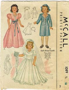 1940s Vintage McCall Sewing Pattern 1089 18 Inch Little Lady Bridal Doll Clothes