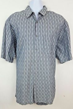 4729f674f Jhane Barnes Gray Mod Short Sleeve Button Front Men's Shirt Size Large  #JhaneBarnes #ButtonFront. The Trading Depot