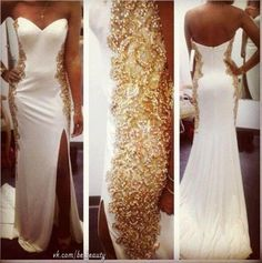 White wedding dresses with gold accents – Wedding Photo Blog 2017