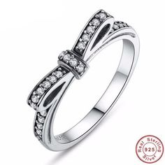 BAMOER 925 Sterling Silver Promise Ring Bow Knot Wedding Bridal  Engagement Ring