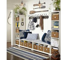 Organize your entryway with custom cabinets and shelves for mudroom storage. See samples of our custom mudroom organizers and entryway organization ideas. Nautical Entryway, Country Entryway, Coastal Entryway, Coastal Farmhouse, Beach House Decor, Home Decor, Beach Houses, Tiny Houses, Diy Casa