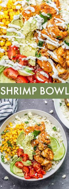 Shrimp Recipes For Dinner, Seafood Dinner, Healthy Dinner Recipes, Recipes With Cooked Shrimp, Shrimp Rice Bowl Recipe, Mexican Bowl Recipe, Best Healthy Recipes, Tasty Healthy Meals, Easy Meals For Dinner