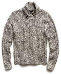 Ivory/Black Shawl Collar Sweater