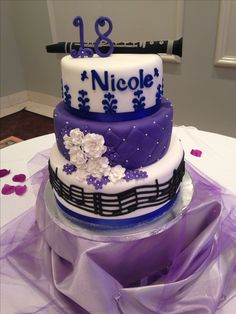 18th Birthday Cake with Clarinet and Music Notes
