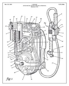 Ghostbusters Proton Pack Coloring Page Ghostbusters Proton Pack, Ghostbusters Party, The Real Ghostbusters, Ghostbusters Backpack, Gi Joe, Posters Geek, Movie Posters, Patent Drawing, Ghost Busters