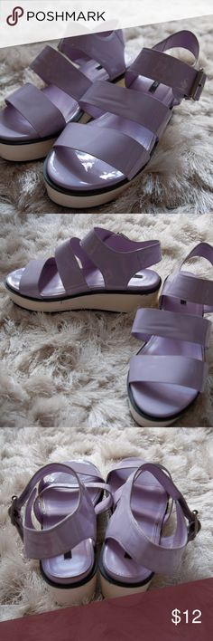 Forever 21 Platform Sandals Neon purple patent platform sandals from Forever 21. Worn a couple times and there are a few small scuffs. LOVE these, but they are slightly too narrow for my feet. Forever 21 Shoes Sandals