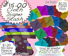 Cloth diaper stash for only $15 using t-shirts and upcycled fleece.