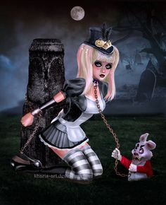Gothic Alice and the Bad Rabbit by kharis-art.deviantart.com on @deviantART
