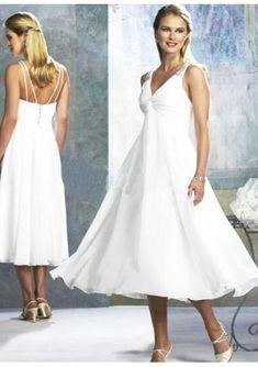 48cc99b1562b Perlenstickerei Chiffon V Ausschnitt Wadenlang Hochzeitskleid Kurz - Leann  Hinckley -  Ausschnitt  Chiffon