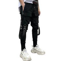 9363bc457934 drop shipping Men Sweatpants muti chains design Mens Joggers Harem Pants  Multi-pocket Pencil Jogger