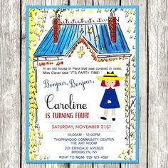 Madeline Invitation - Madeline Birthday Party - Printable by LetsPrintAParty on Etsy https://www.etsy.com/listing/254852768/madeline-invitation-madeline-birthday