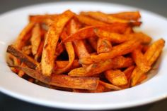 Roasted sweet potato fries -- coconut oil, salt, pepper and paprika
