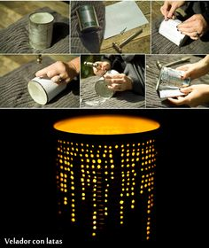 DIY Cans – Brighten up your home! - New Diy Crafts Idea 2019 Tin Can Crafts, Diy Home Crafts, Diy Home Decor, Tin Can Art, Tin Can Lanterns, Diy Cans, Aluminum Cans, Diy Candle Holders, Christmas Mason Jars